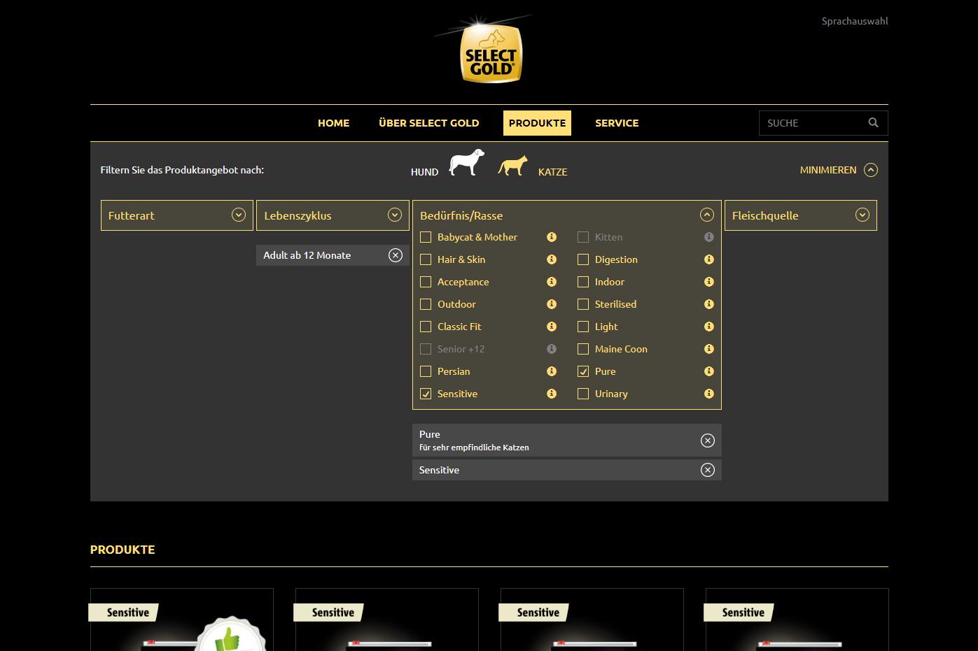 Fensterkatzen_Getestet_Select-Gold-Fressnapf_Screenschot-Produktfinder