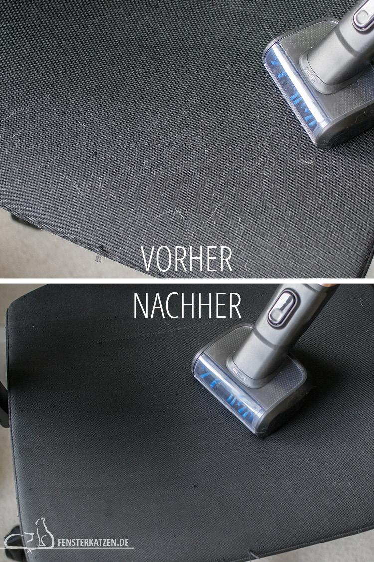 Fensterkatzen-Getestet-Akku-Staubsauger-SpeedPro-Max-Philips-Turboduese-Tierhaare-Vorher-Nachher-02