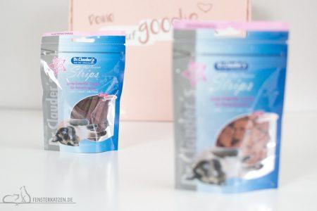 Fensterkatzen-Getestet-Goodie-Box-Zookauf-Shop-Dr-Clauders-Snacks-Entenfilet-Streifen